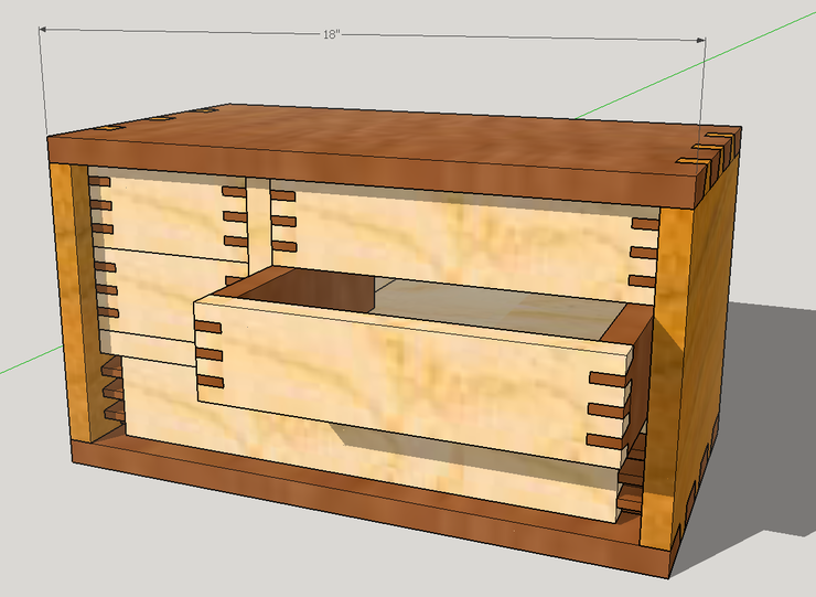 rendering of chest with drawer open and no dovetailing on bottom drawer