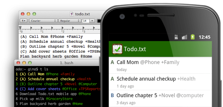 todo.txt with some different apps showing the same todo list